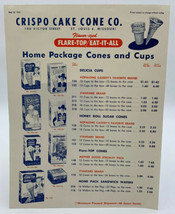 Crispo Cake Cone Co. Hopalong Cassidy Price List Vintage Original 19-2685GT - $10.40