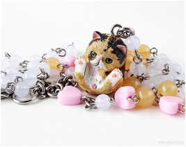 Exotic Shorthair Calico Cat Necklace, Sweet Lolita, Cat Lovers, Harajuku Fashion - $38.00