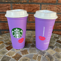 2 Starbucks Valentine 2021 Hot Cup Lid Reusable Purple Lips Change Color... - $24.50