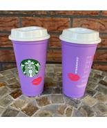 2 Starbucks Valentine 2021 Hot Cup Lid Reusable Purple Lips Change Color... - $24.50