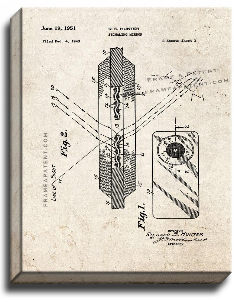 Primary image for Signaling Mirror Patent Print Old Look on Canvas