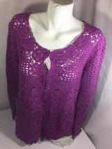 Liz Claiborne Women Purple Blouse Size L Long Sleeve  Button Down Bin56#29 - $12.20