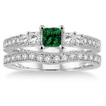1.5 Carat Emerald & Sim Diamond Three Stone Bridal Set on 14k White Gold Finish  - $99.99