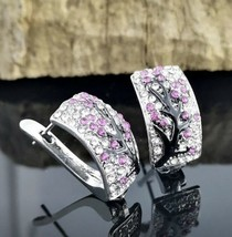 925 Sterling Silver Half Hoop Earrings Studded with Pink Flowers [EAR-318] - $12.62