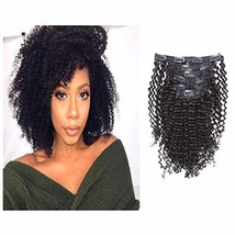 Loxxy Afro Kinky Curly Clip in Human Hair Extensions 3B 3C Kinky Clip ins For Bl image 1