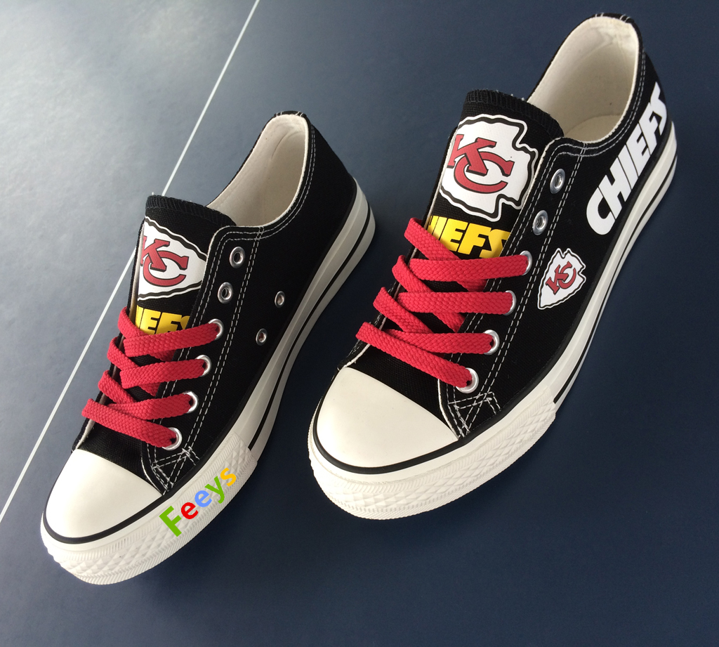 kc chiefs shoe women converse style chiefs sneakers Kansas city fans gift black