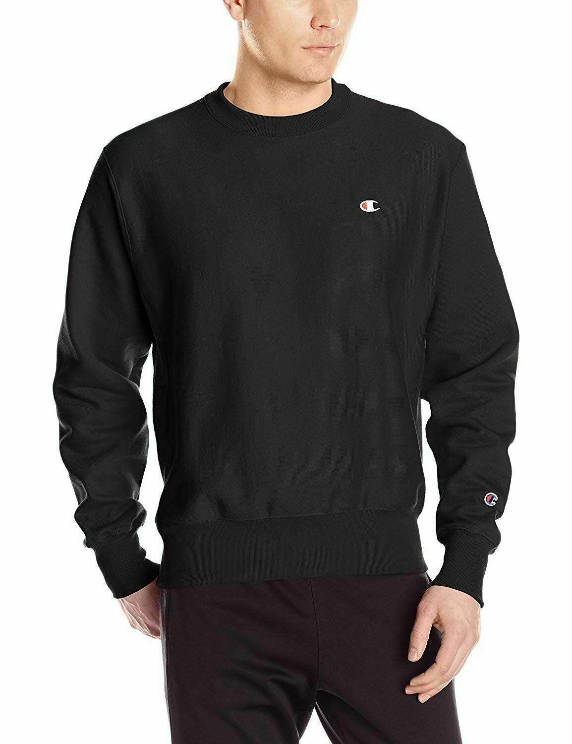 Champion Life Reverse Weave Sweatshirt Black Men's Medium Crew Neck Long Sleeve