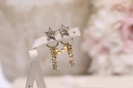 AUTH Christian Dior 2019 CLOVER CRYSTAL STAR HOOP DANGLE GOLD Earrings  image 11