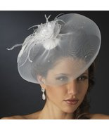 Chic Visor Bridal Cocktail Hat Comb & Wedding Veil Fascinator - White - $105.66