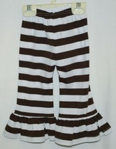 Blanks Boutique Brown White Ruffled Pants Cotton Spandex Size 12 Months image 2