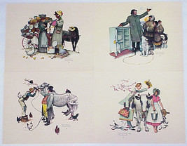 "Norman Rockwell - Set Of 4 Vintage Embossed Prints - ""Traveling Salesman"" - $12.00"
