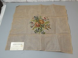 "Vintage Needlepoint Canvas Roses 23""X23"" Partially Finished - £24.99 GBP"