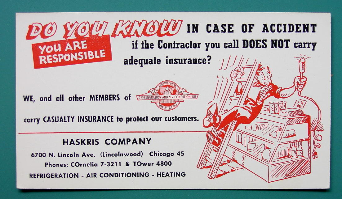 INK BLOTTER AD 1950s - Haskris Company Casualty Insurance Chicago Illinois