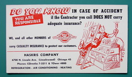 INK BLOTTER AD 1950s - Haskris Company Casualty Insurance Chicago Illinois - $4.49