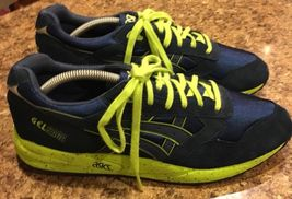 Mens ASICS Neon GEL SAGA Sneakers Green 11 US Running Blue Speckled Navy H137K rdvrwXqxR