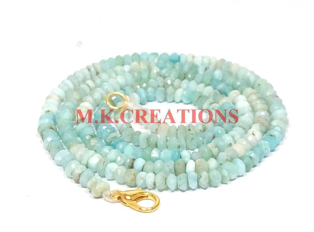"Primary image for Natural Larimar Gemstone 3-4mm Rondelle Faceted Beads 28"" Long Beaded Necklace"