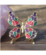 Vintage Trifari Butterfly, Red Green Purple Enamel - $160.00