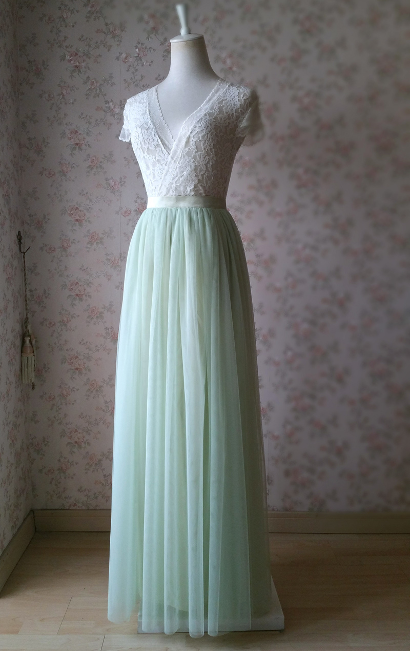 Light green tulle skirt 2