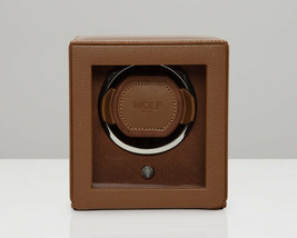 WOLF Single Cub Watch Winder with Cover - Cognac 461127 Battery or AC Power - $189.00