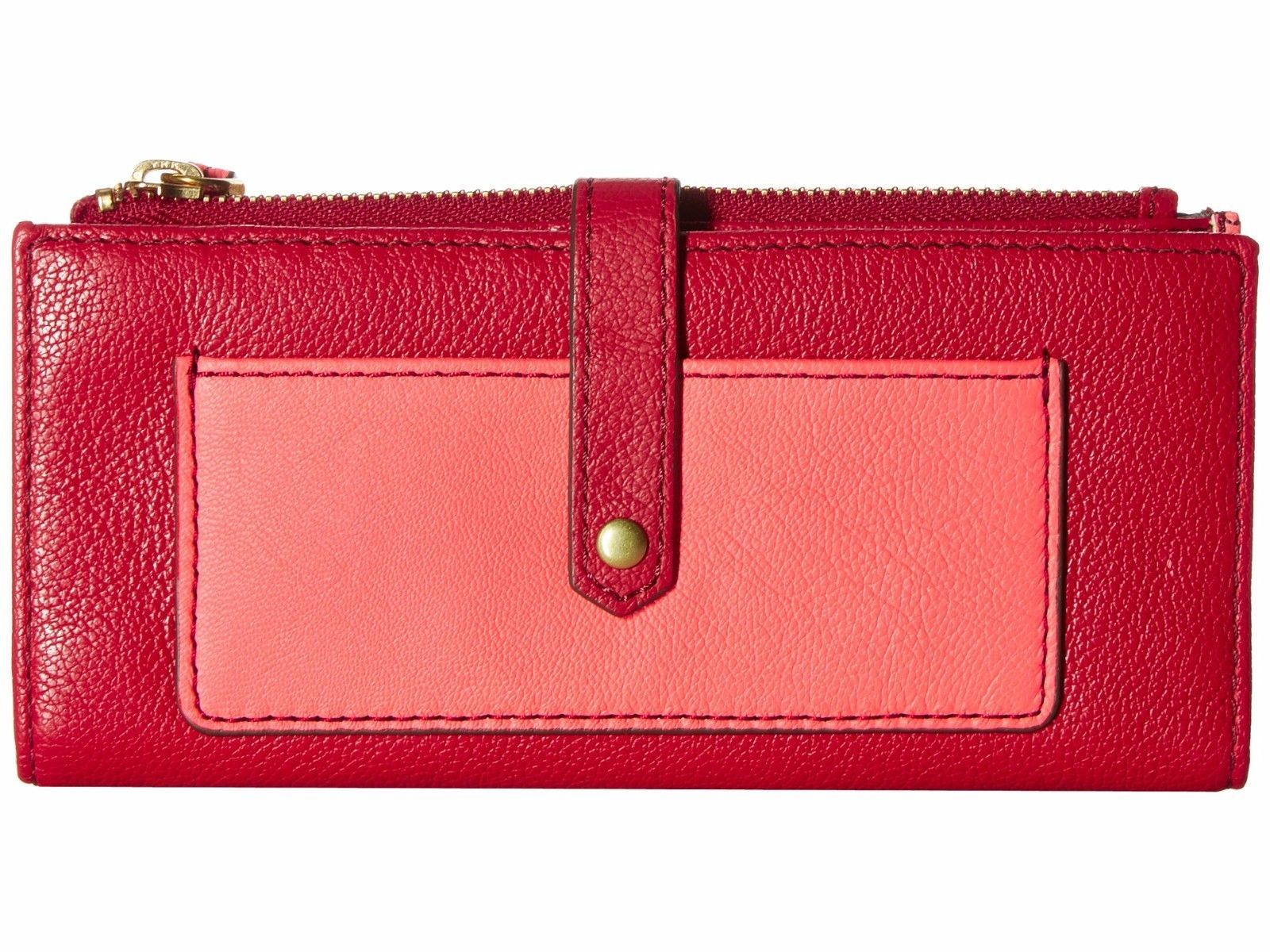 NEW FOSSIL WOMEN'S LEATHER KEELY TAB CLUTCH CREDIT CARD ID WALLET RED MULTI
