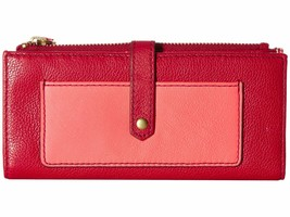 New Fossil Women's Leather Keely Tab Clutch Credit Card Id Wallet Red Multi - $60.17