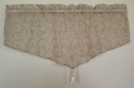 JCPenney Beige Sheer Crushed Voile Ascot Valance 49 x 20 Embroidered Scr... - $17.81