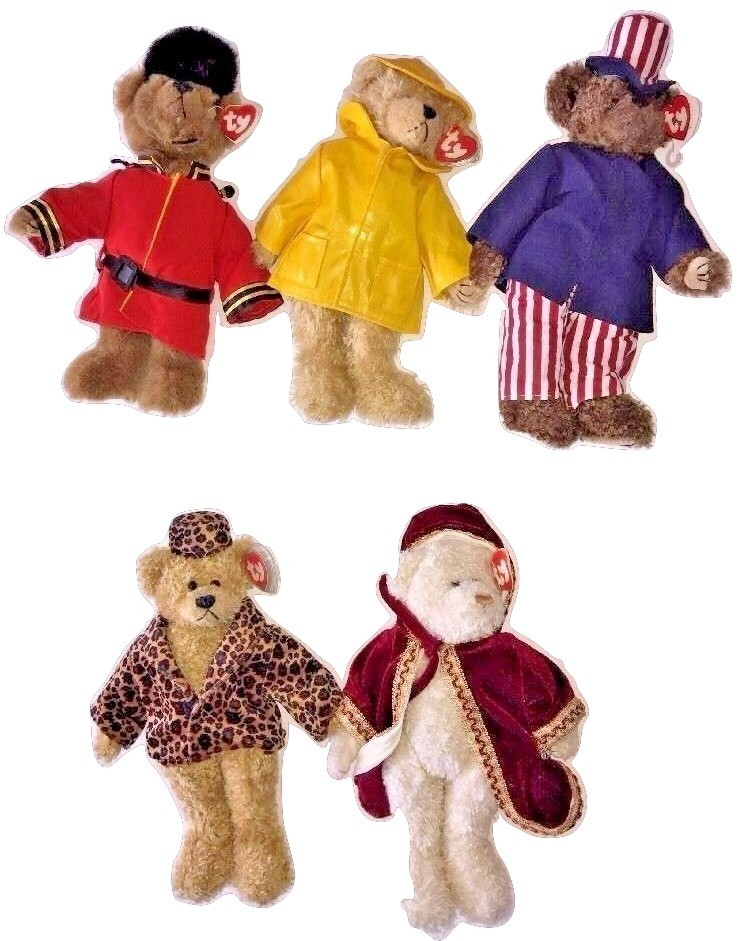 "Primary image for Lot Of 5 TY Attic Buddy Bear Gordon Gem Samuel Isabella Teddy Bear Plush 12"" EUC"