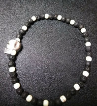 Stretch Bracelet Skull with Natural Lava Stone, Howlite Men Women Valentines image 4