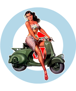 Mod Scooter Girl Target vinyl sticker scootering Vespa Lambretta mods sk... - $4.00