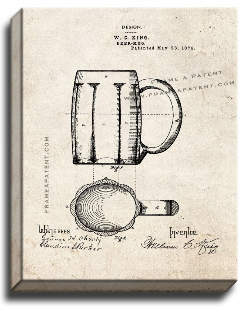 Primary image for Beer Mug Patent Print Old Look on Canvas