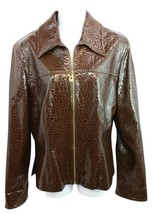 St. John Collection Embossed Dark Brown Patent Leather Jacket M - $172.63