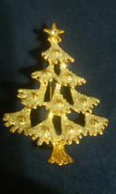 Vintage Snow Glitter Christmas Tree with Rhinestone Star Pin Brooch - €2,56 EUR