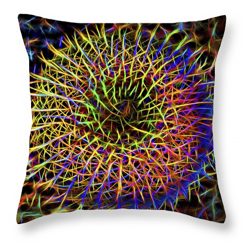 Neon barrel cactus pillow