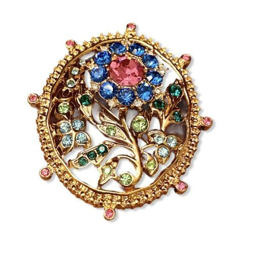 TRIFARI Pink, Blue & Green Rhinestones Flower Brooch Pin Marked Ltd Ed. 1998 - $58.05