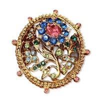 TRIFARI Pink, Blue & Green Rhinestones Flower Brooch Pin Marked Ltd Ed. ... - $58.05