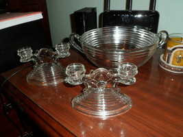 Crystal Depression Glass Anchor Hocking Manhattan Large Handled Bowl 9 i... - $65.00