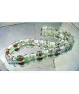 Vintage Murano Pink Roses Necklace Venetian Sommerso Beads Wedding Jewelry  - $48.00