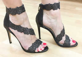Jessica Simpson Geela Black/Gunmetal Stiletto Dress Embellished Open Toe... - $109.00