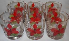 Set (6) Block POINSETTIA PATTERN 8 oz HI BALL GLASSES - $23.75