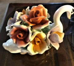 Capodimonte Made in Italy Porcelain Swan Figurine~ 7 Handmade Pastel Roses - $129.00