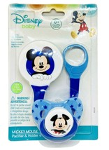 Disney Baby Mickey Mouse Pacifier & Holder Set 0+ Months Blue Stars BPA ... - $11.88
