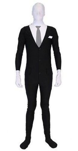 Slenderman Body Suit Spandex Nylon Creepy Adult Halloween Deluxe Costume Set