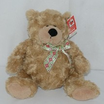 GANZ Brand HX11089 Light Brown Color Soft and Cuddly Hayden Plush Bear With Bow image 1