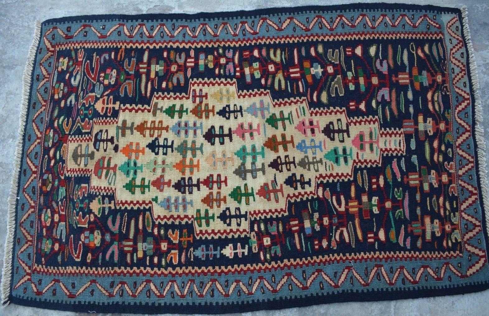 2'5 x 3'6 handwoven persian tribal senneh kilim antique turkish kurdish kilem