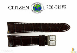 Citizen 59-S51439 Genuine 22mm Brown Leather Watch Band AT0550-11X H500M-S049628 - $94.45
