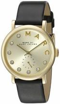 Marc Jacobs Women's  Black Leather Swiss Quartz Watch – Gold - $94.90