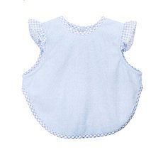 Simple Waterproof Baby Bib Bamboo Fabric Baby Feeding Smock BLUE, 4-9 Months