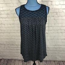 Loft Women's Navy Sleeveless Geometric Print Floral Crochet Blouse Loose Fit S - $16.88