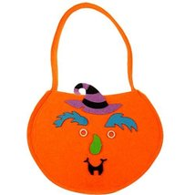 Set of 2 DIY Halloween Kids Pumpkin Bag Trick or Treating Candy Bag(Witch)