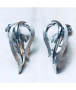 Vintage Sarah Coventry Silver Tone Angel Wing Clip On Earrings Beautiful! - $17.37